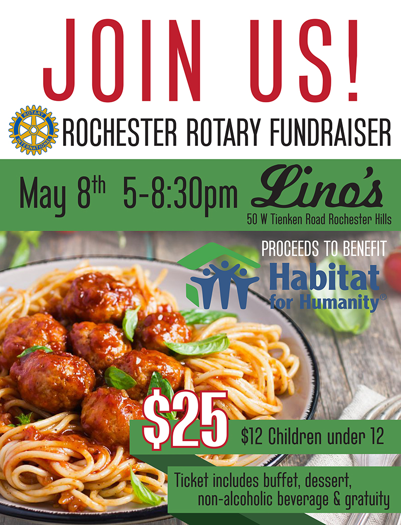 Rochester Rotary Dinner to Benefit Habitat Oakland County
